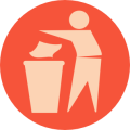 rubbish bin sign red